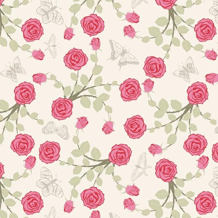 Afwasbaar behang, op maat gemaakt Naadloze bloemmotief - Grafische Bronnen