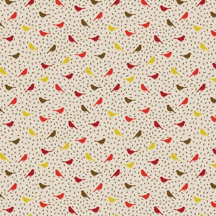 Afwasbaar behang, op maat gemaakt Vogels naadloos patroon. Kleurrijke textuur - Stijlen