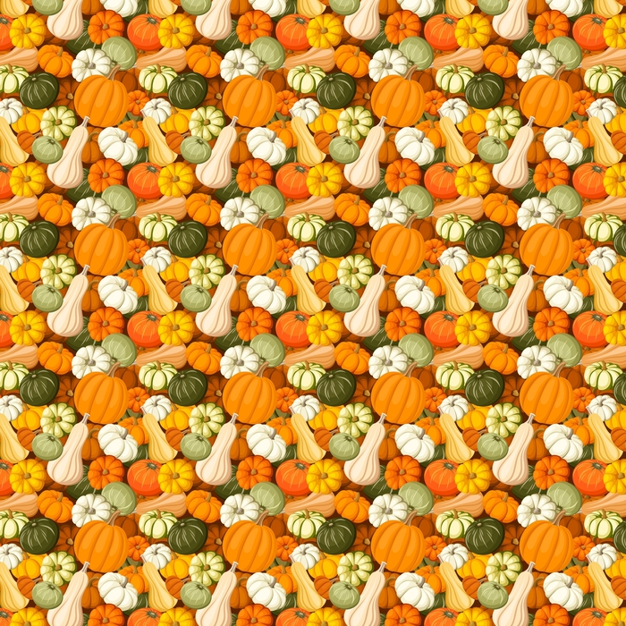Pumpkins. Vector seamless background. Washable custom-made wallpaper - Food