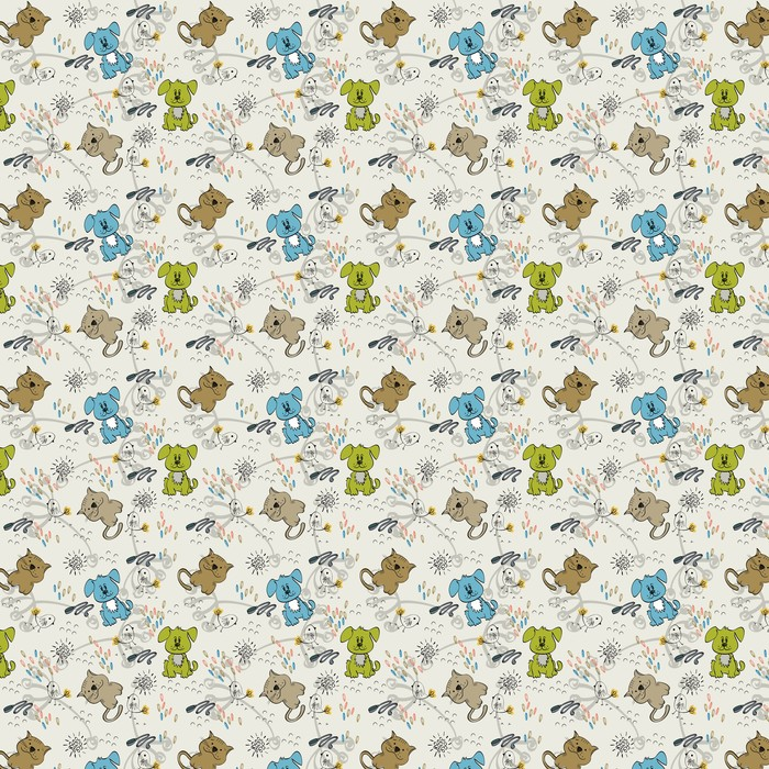 Cute hand draw seamless pattern for kids. Washable custom-made wallpaper - Mammals