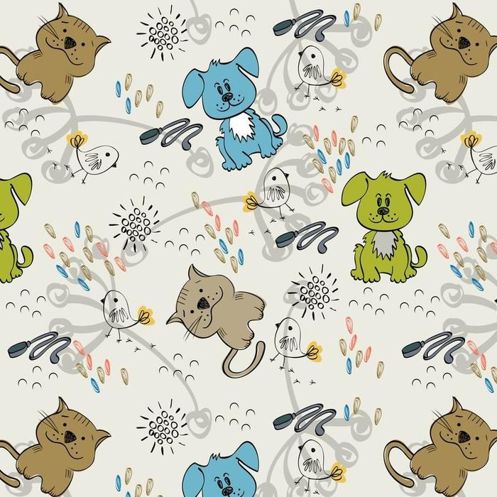 Afwasbaar behang, op maat gemaakt Leuke hand trekt naadloos patroon voor kinderen. - Zoogdieren