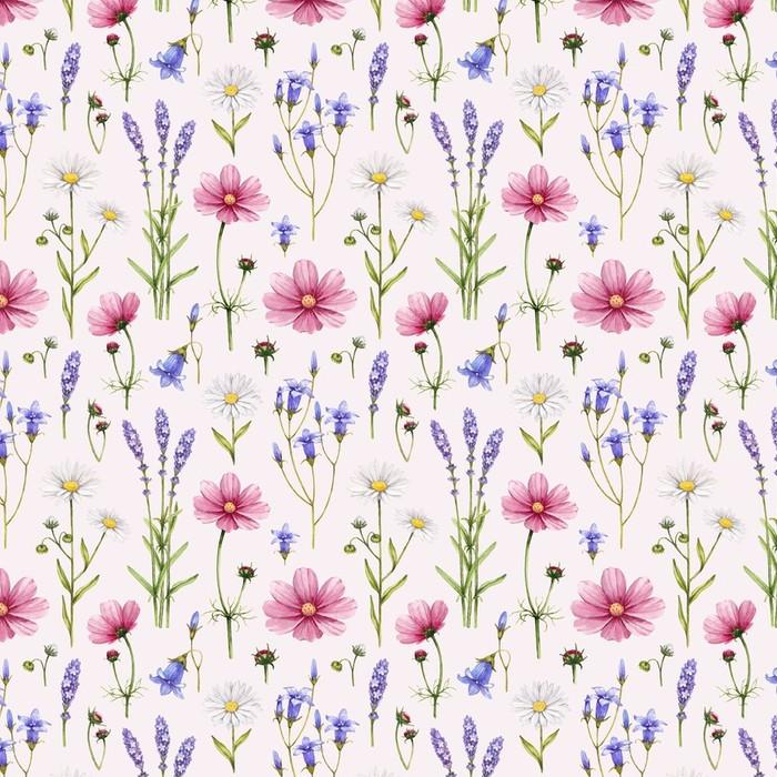 Afwasbaar behang, op maat gemaakt Wilde bloemen illustratie. Aquarel naadloze patroon - Stijlen