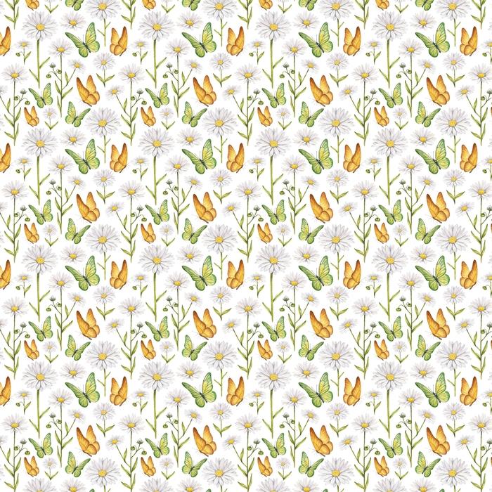 Ilustracja rumianku i motyle