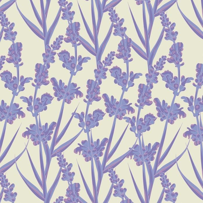 Afwasbaar behang, op maat gemaakt Lavendel Naadloze Patroon - Bloemen