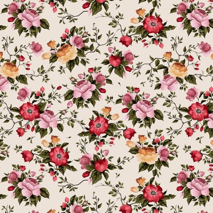 Afwasbaar behang, op maat gemaakt Naadloos vector bloemenpatroon met rozen op lichte achtergrond - Grafische Bronnen