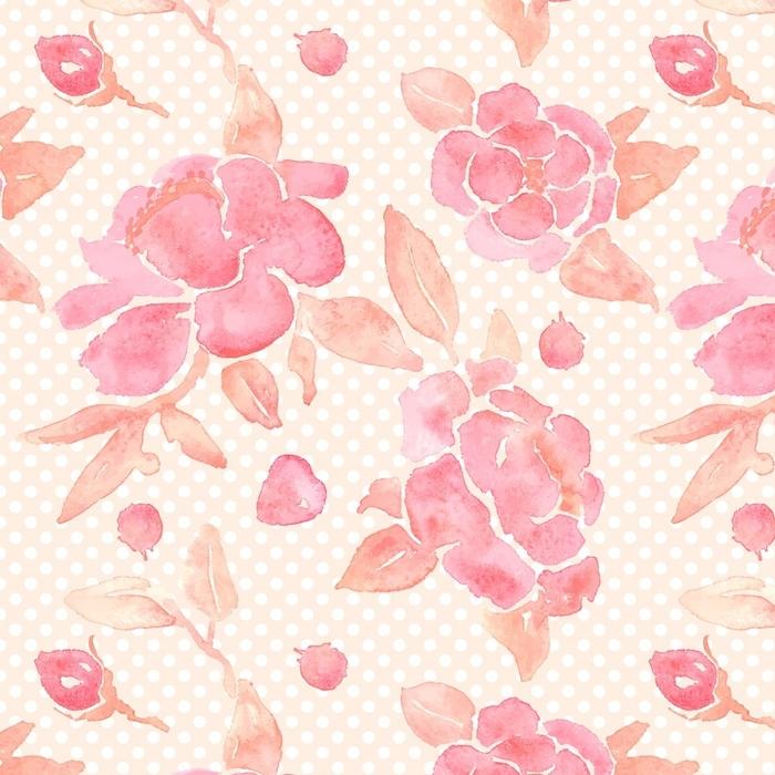 Afwasbaar behang, op maat gemaakt Waterverf naadloos behang met pioenbloemen in vector. - Bloemen en Planten