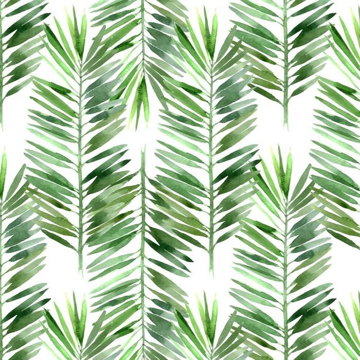 Afwasbaar behang, op maat gemaakt Aquarel palmblad naadloos - Bloemen en Planten