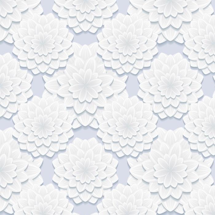 Afwasbaar behang, op maat gemaakt Mooi grijs naadloos patroon met bloemen - Grafische Bronnen