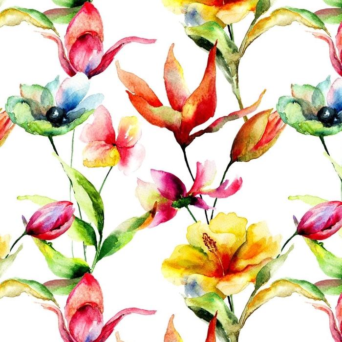 Papier peint lavable sur mesure Fond d'écran sans couture avec des fleurs stylisées - Plantes et fleurs