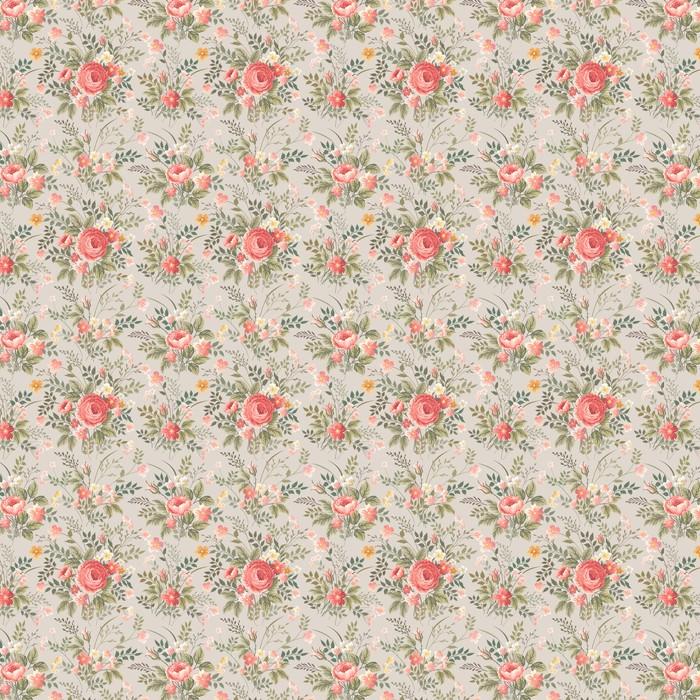 Abwaschbare Tapete nach Maß Nahtlose Blumenmuster mit Rosen - Blumen
