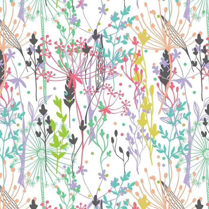 Afwasbaar behang, op maat gemaakt Mooie kleur grassilhouet - Stijlen
