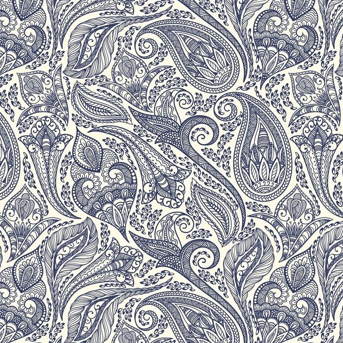 Afwasbaar behang, op maat gemaakt Paisley patroon - Reizen
