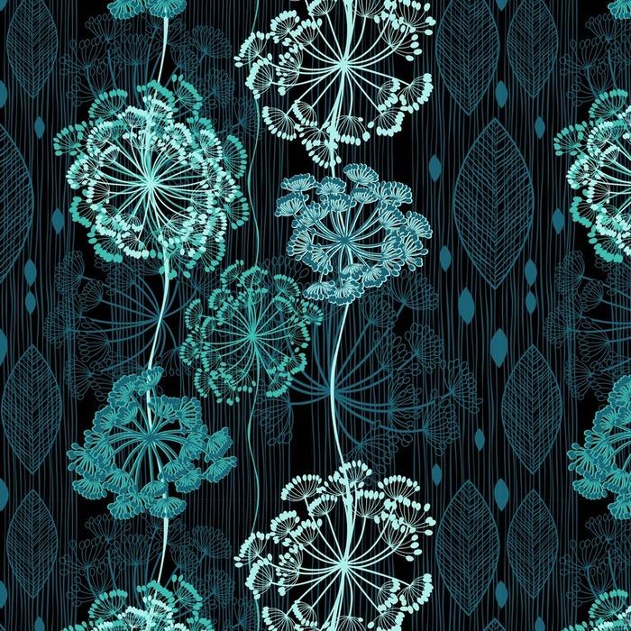 Afwasbaar behang, op maat gemaakt Naadloze patroon van abstracte bloemen. Met de hand getekende bloemen backgrou - Bloemen en Planten