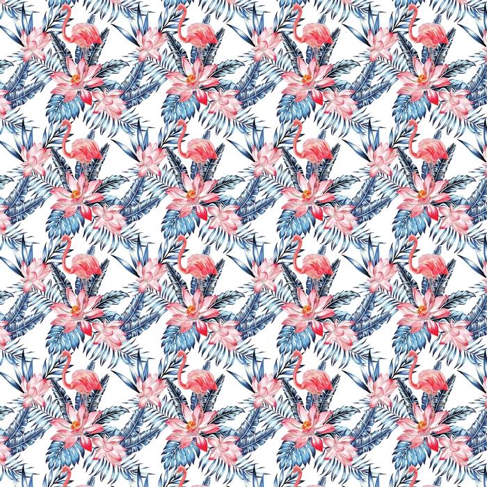 Różowy flaming i niebieski wzór liści palmy