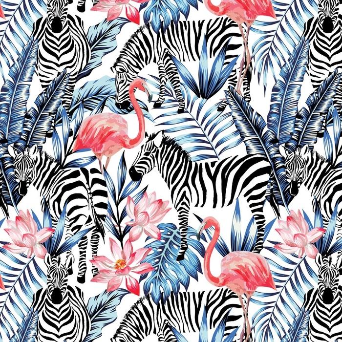 Papier peint lavable sur mesure Flamant aquarelle, zèbre et feuilles de palmiers motif tropical - Animaux
