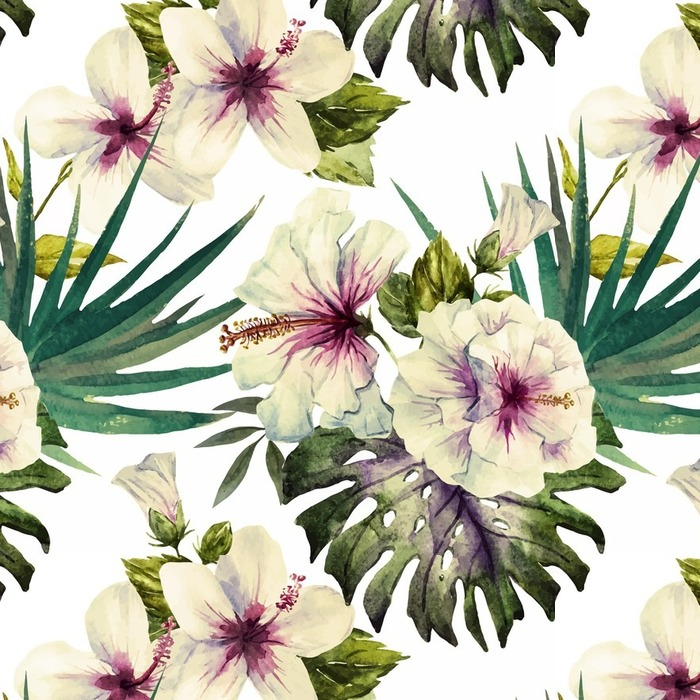 Papier peint lavable sur mesure Motifs Aquarelle d'hibiscus - Plantes et fleurs