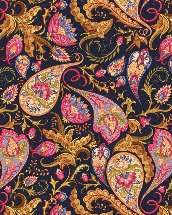 Afwasbaar behang, op maat gemaakt Naadloze Paisley patroon - Bloemen en Planten