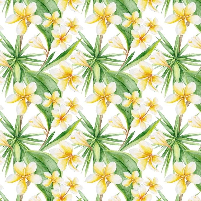 Afwasbaar behang, op maat gemaakt Aquarel tropische patroon - Bloemen en Planten