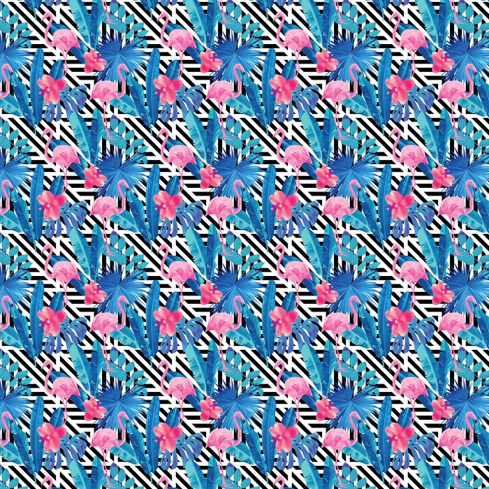 flamingo and orchids pattern, geometric background Washable custom-made wallpaper - Animals