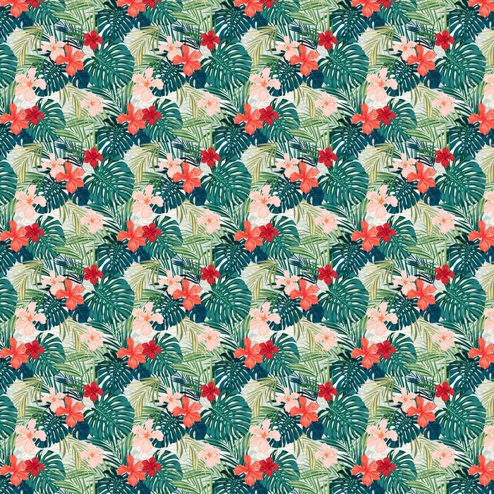 Lys farverig tropisk sømløs baggrund med blade og Personlige vaskbare tapet - Planter og Blomster