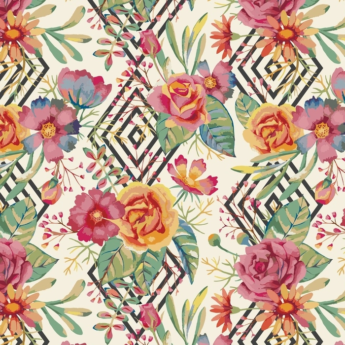 Afwasbaar behang, op maat gemaakt Aquarel naadloze patroon - Bloemen en Planten