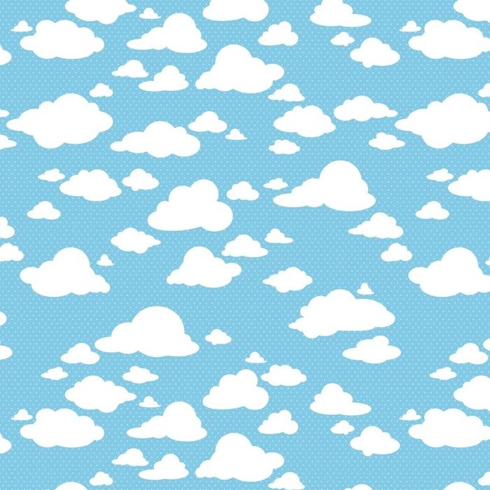 Afwasbaar behang, op maat gemaakt Naadloze patroon met wolken - Grafische Bronnen