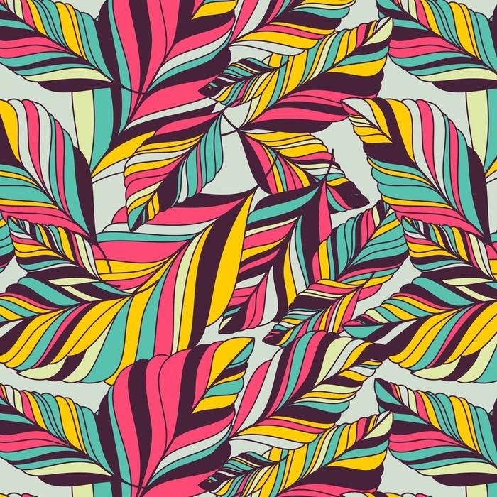 Afwasbaar behang, op maat gemaakt Vector naadloze patroon met multicolor hand getrokken decoratieve le - Herfst