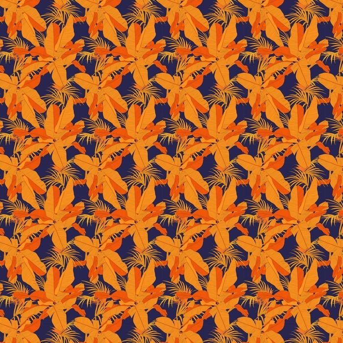 Modny tropikalnych tkaniny bez szwu wzór, czerwony liści palmy na ciemnym granatowym tle, ilustracji wektorowych