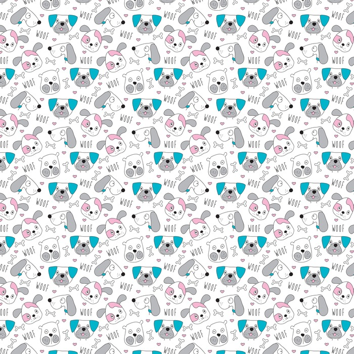 seamless dog pattern vector illustration Washable custom-made wallpaper - Animals