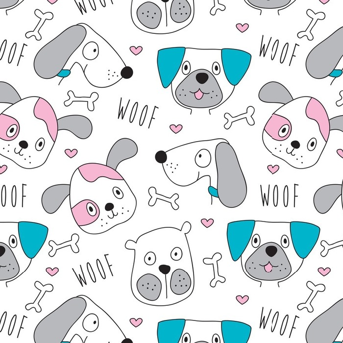 Afwasbaar behang, op maat gemaakt Seamless dog pattern - vector illustratie - Dieren