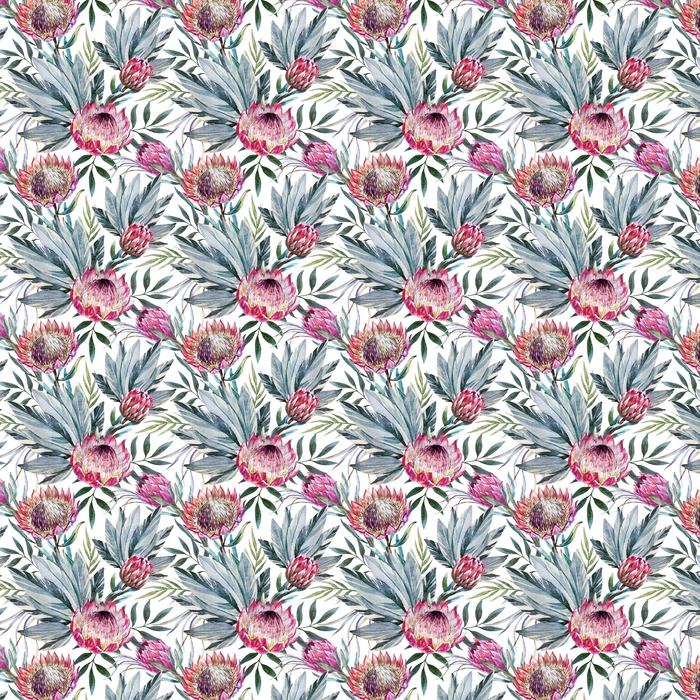 Abwaschbare Tapete nach Maß Raster tropisches Proteamuster - Pflanzen und Blumen