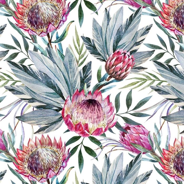 Afwasbaar behang, op maat gemaakt Raster tropisch protea patroon - Bloemen en Planten