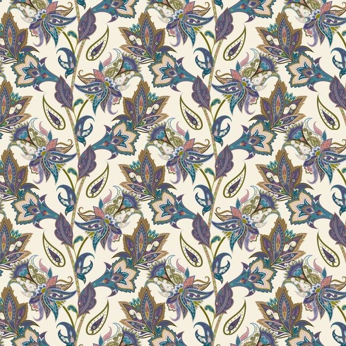 Afwasbaar behang, op maat gemaakt Vintage bloemen en paisley naadloze patroon, oosterse achtergrond - Grafische Bronnen