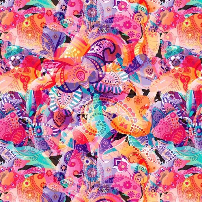 Afwasbaar behang, op maat gemaakt Kleurrijk naadloos patroon. abstract briht wallpaper, achtergrond - Bloemen en Planten