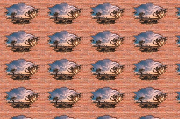 Tapeta na wymiar winylowa Dziura w murze - Zachód słońca. Pustynia. Kalifornia. - Dziury w ścianie
