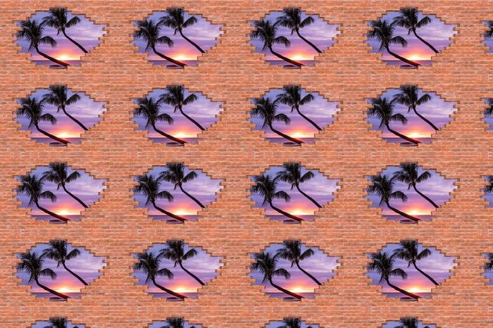 Tapeta na wymiar winylowa Dziura w murze - Palmy - Dziury w ścianie