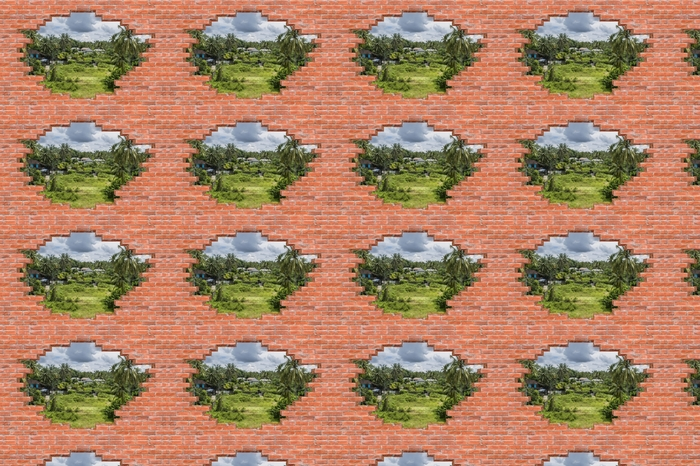 Papier peint vinyle sur mesure Trou dans le mur - Rice Field - Les trous dans le mur