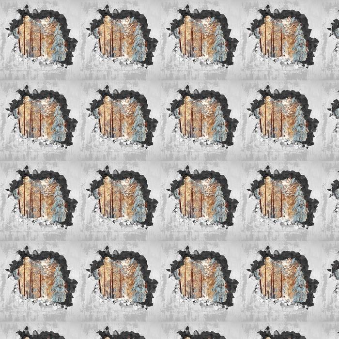 Vinyltapete nach Maß Loch in der Wand - Kiefern mit Schnee bedeckt - Durchbruch in der Wand