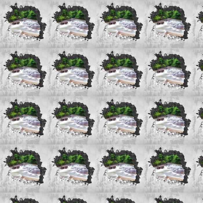 Tapeta na wymiar winylowa Dziura w ścianie - Wodospad w lesie - Dziury w ścianie