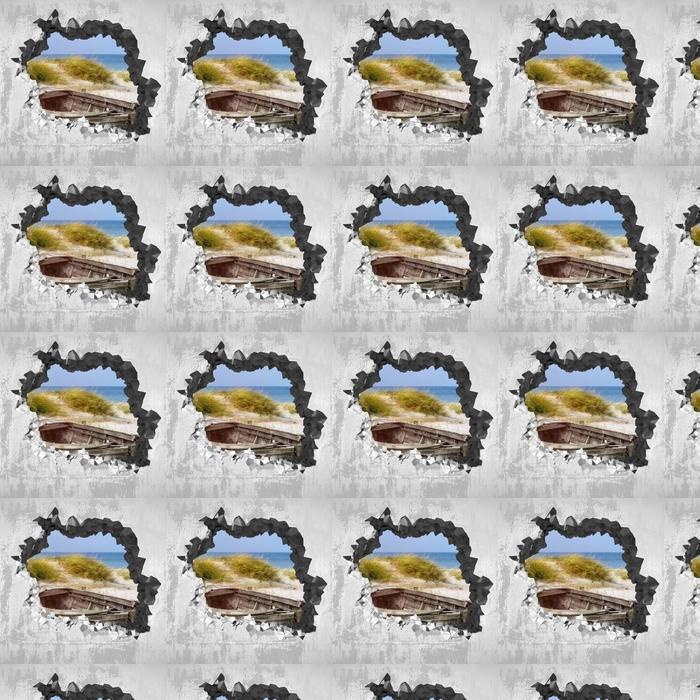 Tapeta na wymiar winylowa Dziura w ścianie - Plaża nad morzem - Dziury w ścianie