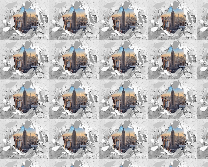 Tapeta na wymiar winylowa Dziura w ścianie - Nowy Jork - Dziury w ścianie