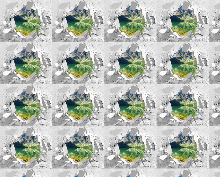 Papier peint vinyle sur mesure Trou dans le mur - Lac dans les montagnes - Les trous dans le mur