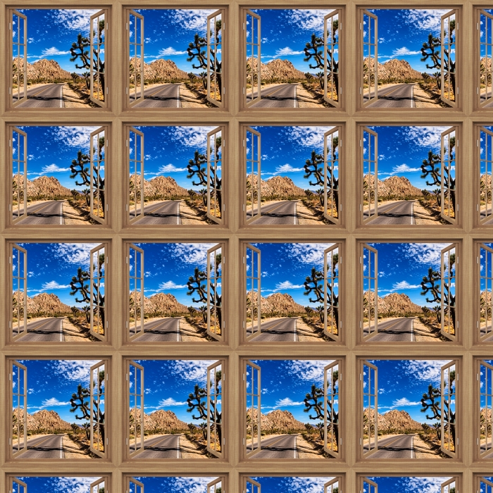 Brown opened the window - National Park in California Vinyl custom-made wallpaper -