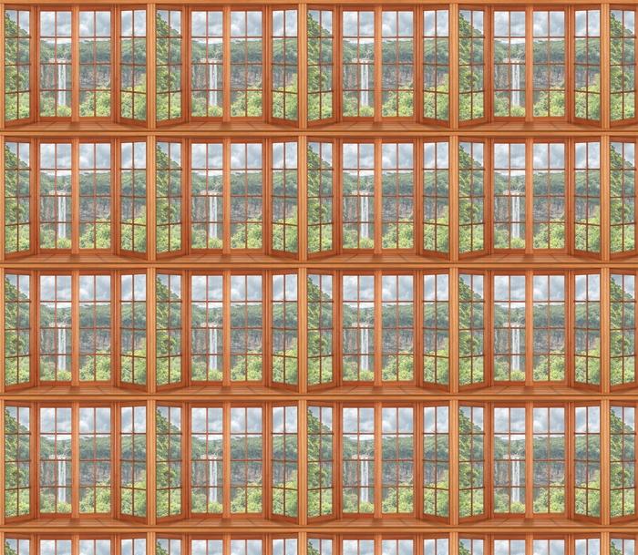 Vinyltapete nach Maß Terrasse - Wasserfall - Blick durch das Fenster