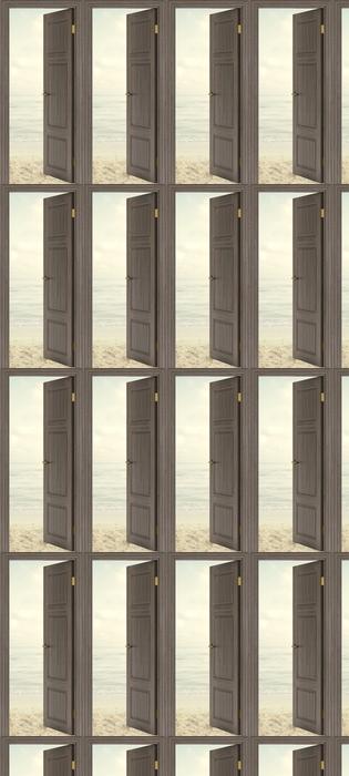 Tapeta na wymiar winylowa Brązowe drzwi - Plaża w lecie -