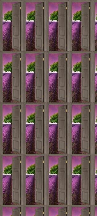 Tapeta na wymiar winylowa Brązowe drzwi - Letni krajobraz -