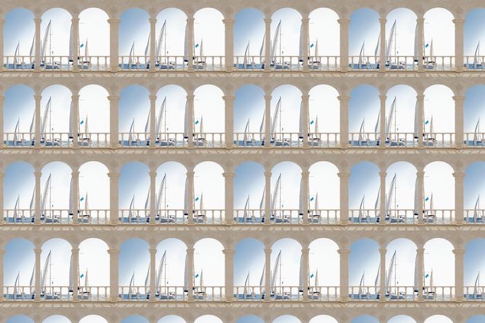 Papier peint vinyle sur mesure Terrasse - yachts à voiles blanches -