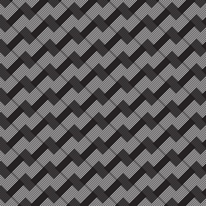 Tapete Schwarz-Weiß-Streifen geometrischen Vintage-Design-Muster.  Monochrome abstrakte Form Hintergrund. - nach Maß