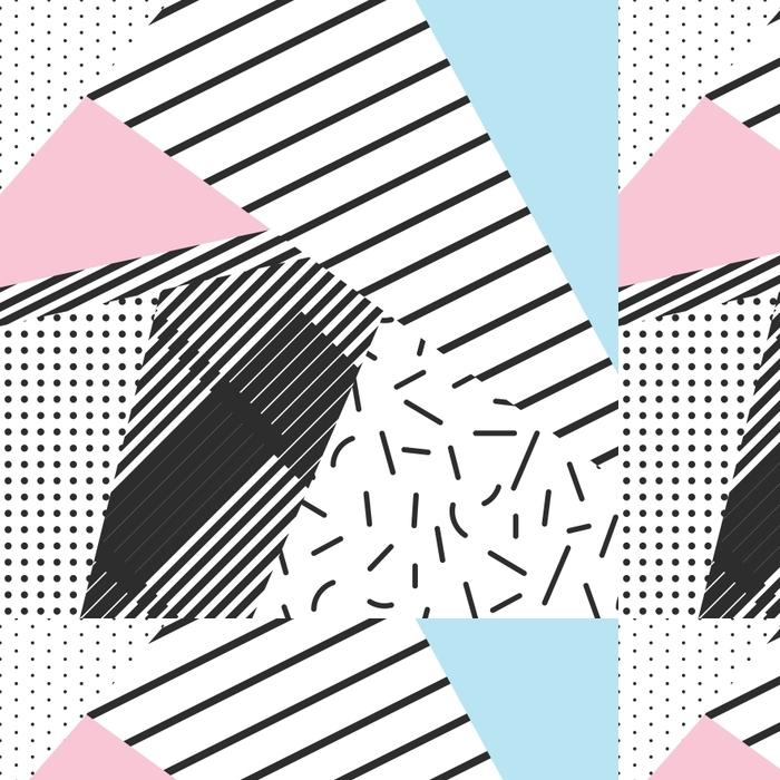Vinil Duvar Kağıdı Memphis renk blokları ve şerit elemanları zemin tasarımı -