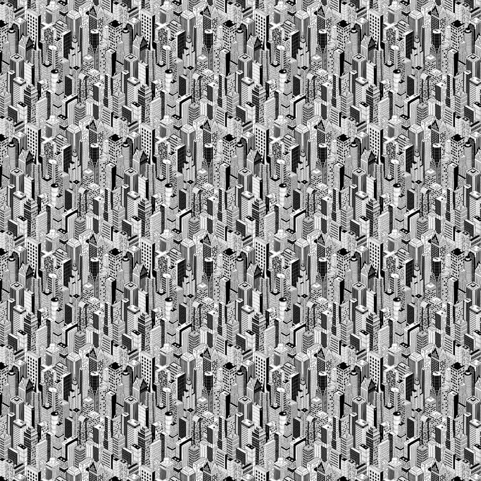 Papel pintado estándar a medida Rascacielos de Patrón sin fisuras (grande) es el dibujo a mano de diferentes edificios de gran altura como Manhattan en proyección isométrica. La ilustración es en modo vectorial eps8. - Nueva York